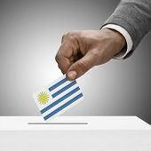 Black Male Holding Flag. Voting Concept - Uruguay