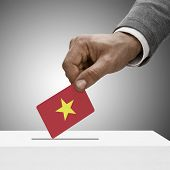 Black Male Holding Flag. Voting Concept - Vietnam