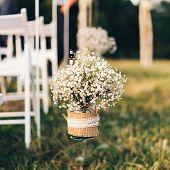 gypsophila bouquet in wedding decoration