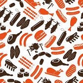 Meat Food Icons And Symbols Color Seamless Pattern Eps10