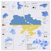 Dot And Flag Map Of Ukraine Infographic Design