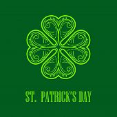 foto of saint patrick  - Linear monogram Saint Patricks Day card - JPG