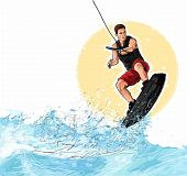 Wakeboarding Illustration