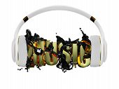 black liquid from the headphones breaks inscription music. stylish white with gold headphones, and t