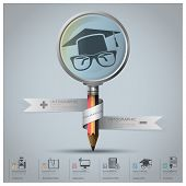 Education And Graduation Infographic With Magnifying Glass And Pencil Icon Diagram