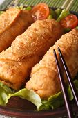 Spring Rolls Fried On A Plate Macro With Lettuce And Tomatoes