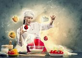 Beautiful Chef Makes Courses With Magic