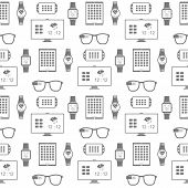 Vector pattern of smart gadgets on white background