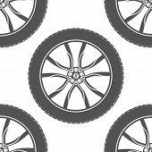 Vector seamless pattern of car wheels