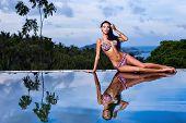 Pretty Brunette Model In Bikini Posing At The Pool