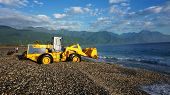 Fishermen Unload The Fishes From The Boat By Using Truck In Hualien, Taiwan