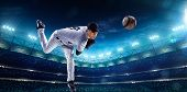 image of hitter  - Professional baseball players on the grand arena in night - JPG
