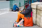 Clochard, homeless with dog in Paris