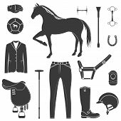 foto of horse-riders  - Vector set of icons and symbols for sports games polo - JPG