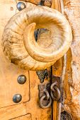 Unusual Aries Horn Door Knob With Lock Chains