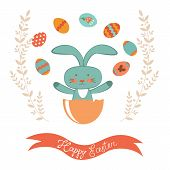Easter card with rabbit hatching