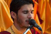 Young Novice On Ganga Aarti Ceremony In Parmarth Niketan Ashram