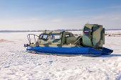 Hovercraft On The Ice Of The Frozen Volga River In Samara