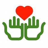 Color icon. heart and hands on white background