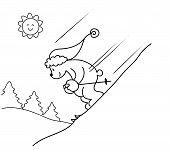 Coloring Skiing bear