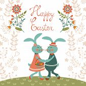Easter card with cute rabbits