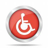 Handicap Flat Red Simple Icon