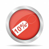 10% Tag Icon, Vector Illustration. Flat Design Style