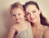 Happy Smiling Family. Mother And Daughter. Instagram Effect Portrait