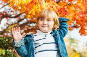 Autumn portrait of a cute toddler boy