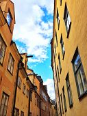 Bright Buildings In The Old Center Of Stockholm