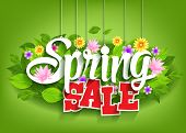 Spring Sale Word Hanging on Leaves with Strings
