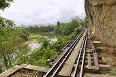 Thailand-Burma Death railway follows the bents of the river Kwai, Kanchanaburi, Thailand.