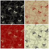 Vector Seamless Patterns With Skulls And Bones