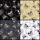 Vector  Seamless Patterns With Skulls