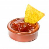 image of nachos  - spicy nachos with tomato salsa close up - JPG