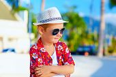 Cute Fashionable Boy Kid On Summer Vacation