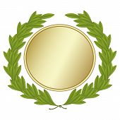 Green laurel wreath With golden medal