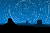 Star Trails At Monument Valley, Arizona, Eps10 Vector