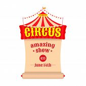 stock photo of tent  - Vector poster or billboard for the circus - JPG