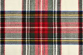 stock photo of tartan plaid  - Red and white wool plaid print as background - JPG