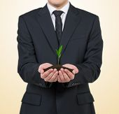 Businessman Holding Plant