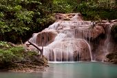 Deep Forest Erawan Waterfall National Park Waterfall In Kanchanaburi, Thailand