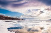 Fantastic Winter Landscape With Frozen Lake