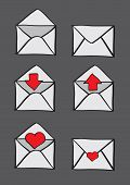 Envelopes With Conceptual Symbols For Email Icon Set