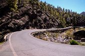 image of canary  - Long Empty Desert Asphalt Road in Canary Islands Spain - JPG