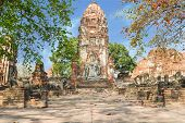 Ancient Sandstone Of Buddha At Wat Mahathat, Ayutthaya, Thailand