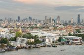 Grand Palace Along The Chaophraya River At Dusk, Bangkok, Thailand