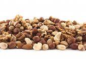 Almond, pistachio, peanut, walnut, hazelnut mixed pile