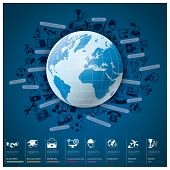 Global Index Infographic With Icon Set Chart Design
