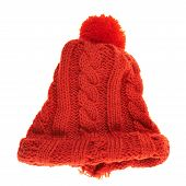 pic of knitted cap  - Knitted winter red cap isolated over white background - JPG